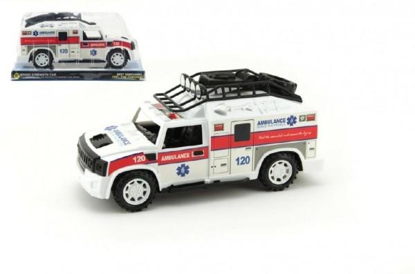 Teddies Auto Ambulancia plast 25cm na zotrvačník v krabičke