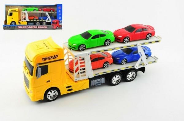 Teddies Auto prepravník + 4 autá plast 45cm na zotrvačník asst 3 farby v krabici