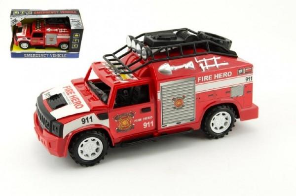 Auto hasiči plast 25cm na zotrvačník na batérie so zvukom so svetlom v krabici