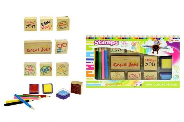 Teddies Pečiatky s poduškami + pastelky v krabičke 24x14cm