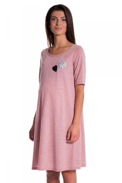 Letné, volné tehotenské šaty s kr. rukávom - ružová