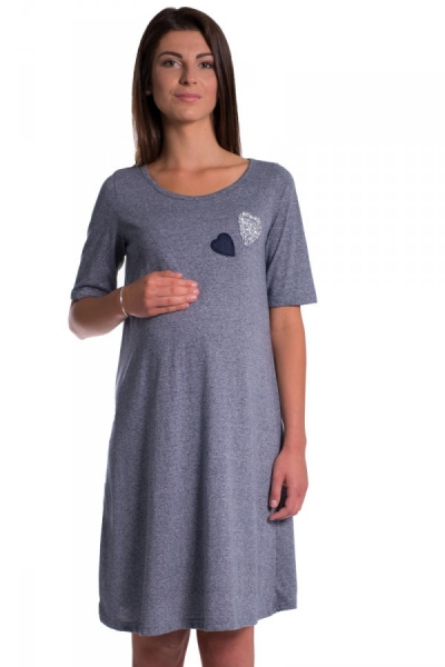 Be MaaMaa Letné, volné tehotenské šaty s kr. rukávom - granat, vel´. M
