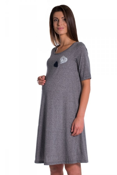 Be MaaMaa Letné, volné tehotenské šaty s kr. rukávom - grafit, vel´. XXL
