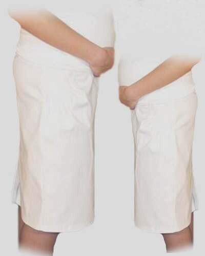Tehotenská športová sukňa s vreckami - biela