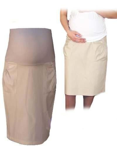 Tehotenská športová sukňa s vreckami - béžová