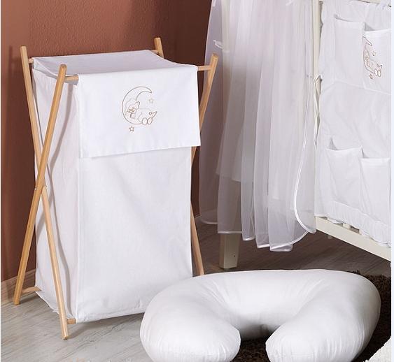 Luxusné praktický kôš na bielizeň - MESIAC biely