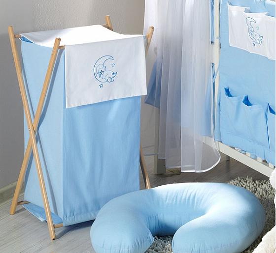 Luxusné praktický kôš na bielizeň - MESIAC modrý