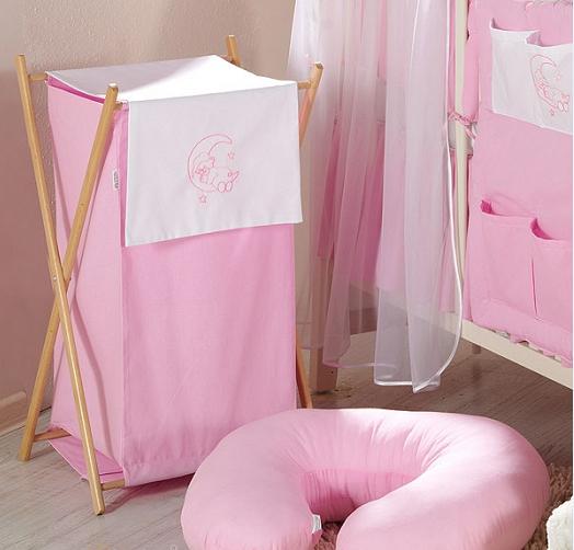 Luxusné praktický kôš na bielizeň - MESIAC ružový