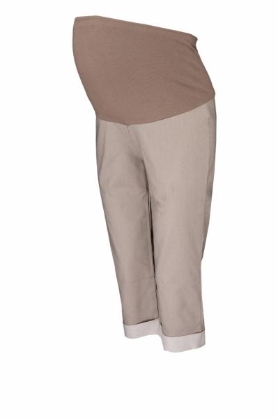 Tehotenské 3/4 nohavice s elastickým pásom - béžová