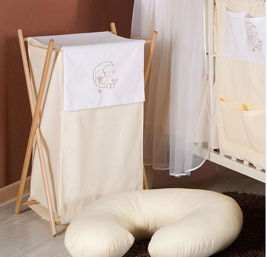 Luxusné praktický kôš na bielizeň - MESIAC krémový