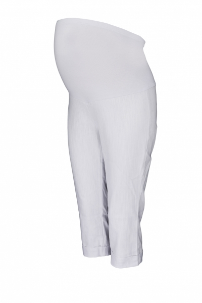 Tehotenské 3/4 nohavice s elastickým pásom - biele