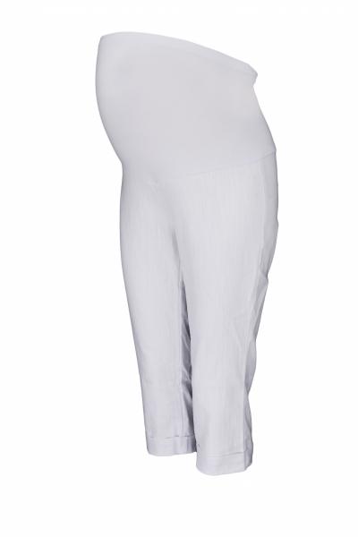 Be MaaMaa Tehotenské 3/4 nohavice s elastickým pásom - biele, vel´. XXXL