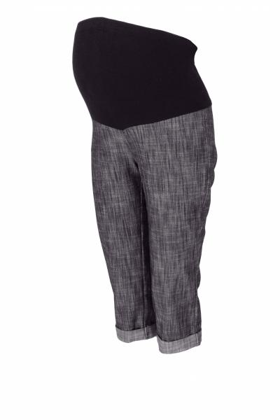 Tehotenské 3/4 nohavice s elastickým pásom - čierne/melírované