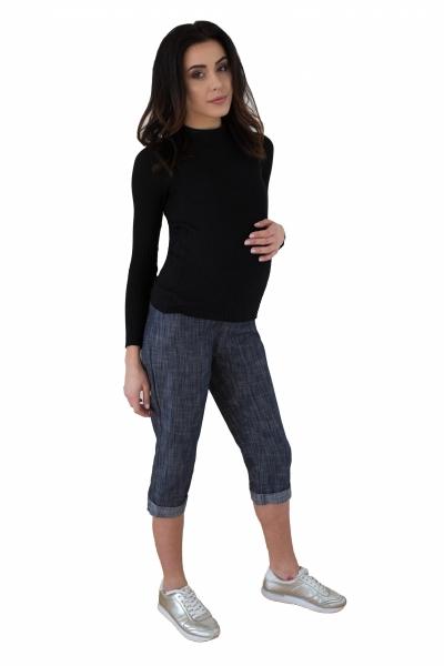Tehotenské 3/4 nohavice s elastickým pásom - granat/melírované
