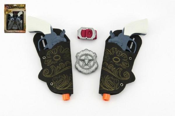 Teddies Pištoľ kovbojská plast 16cm 2ks s doplnkami v krabici