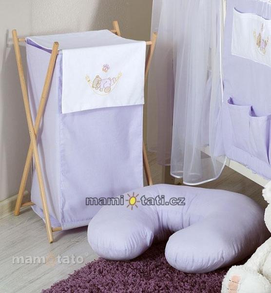 Luxusné praktický kôš na bielizeň - HOJDAČKA fialová