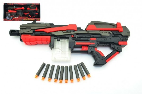 Teddies Pištoľ na penové náboje 10ks plast 54cm na batérie v krabici