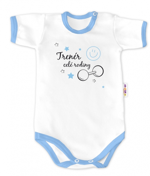 Baby Nellys Body krátky rukáv - Trenér celej rodiny - biele / modrý lem, veľ. 62