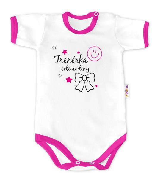 Baby Nellys Body krátky rukáv - Trenérka celej rodiny - biele / ružový lem, veľ. 62-62 (2-3m)