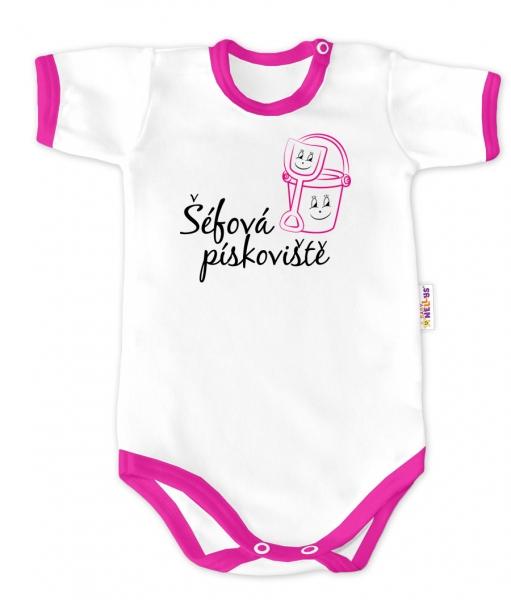 Baby Nellys Body krátky rukáv - Šéfka pieskoviska - biele / ružový lem, veľ. 80