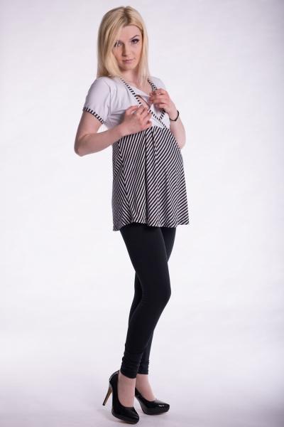 Tehotenské, dojčiace triko kr. rukáv - biele