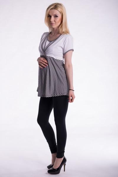 Tehotenské, dojčiace triko kr. rukáv - biele, vel. L/XL-L/XL