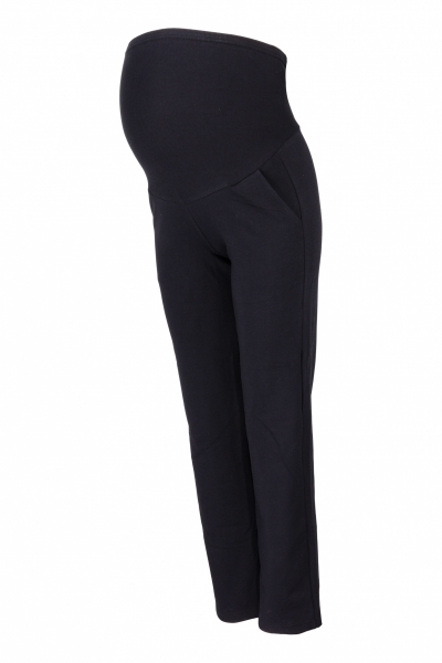 Be MaaMaa Tehotenské nohavice s elastickým pásom, s vreckami - čierne, vel´. M