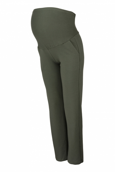 Be MaaMaa Tehotenské nohavice s elastickým pásom, s vreckami - khaki, vel. M