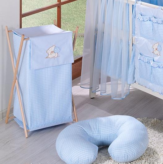 Luxusný praktický kôš na bielizeň - MACKO so srdiečkami modrý