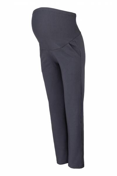 Be MaaMaa Tehotenské nohavice s elastickým pásom, s vreckami - grafit, vel´. M-M (38)