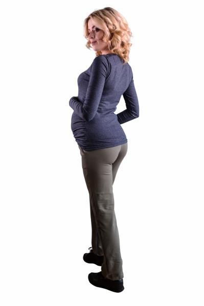 Tehotenské nohavice s elastickým pásom, s vreckami - šedý melír