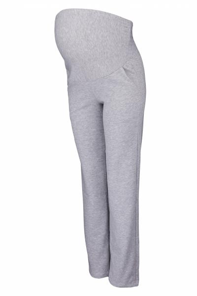 Be MaaMaa Tehotenské nohavice s elastickým pásom, s vreckami - šedý melír, vel´. XL