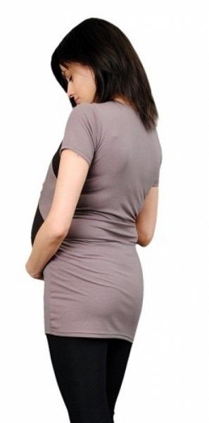 Tehotenská tunika s asymetrickým výstrihom - béžová