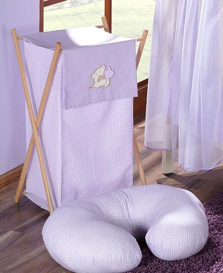 Luxusný praktický kôš na bielizeň - MACKO so srdiečkami fialový