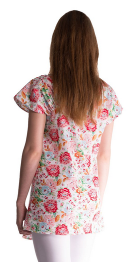 Tehotenská asymetrická tunika s farebnými kvetmi - lososová