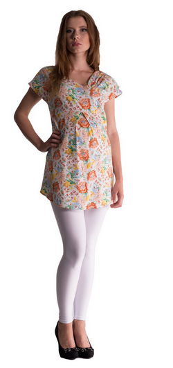Be MaaMaa Tehotenská asymetrická tunika s farebnými kvetmi - lososová, vel´. L/XL