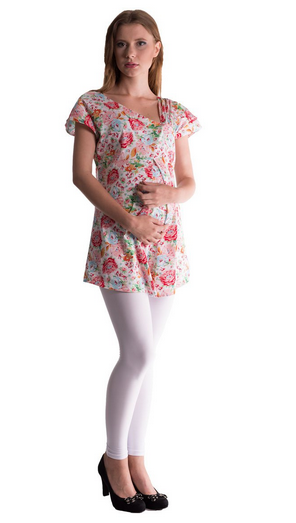 Be MaaMaa Tehotenská asymetrická tunika s farebnými kvetmi - červená, vel´. L/XL