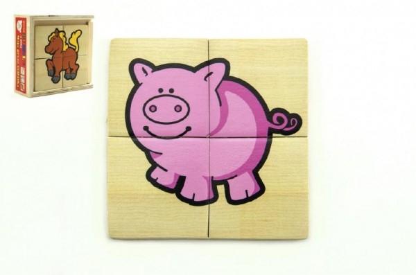 Puzzle 4ks pre najmenších drevo Moje prvé zvieratká MPZ v drevenej krabičke 11x11x4 cm