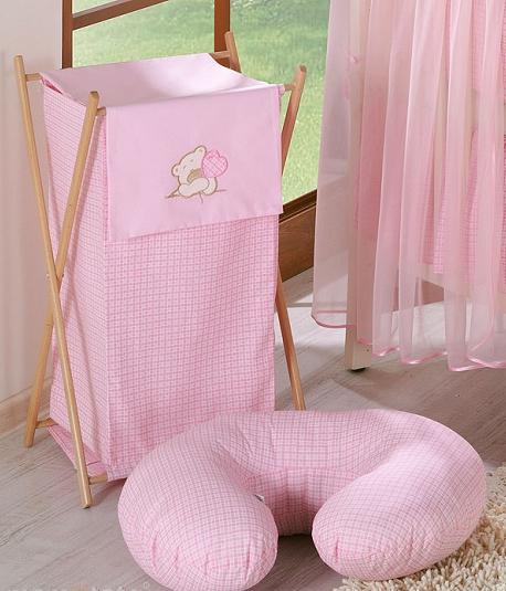 Luxusný praktický kôš na bielizeň - MACKO so srdiečkami ružový