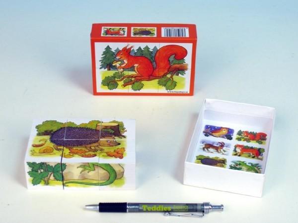 Teddies Kocky kubus Lesné zvieratká drevo 6ks v krabičke 12,5x8,5x4cm