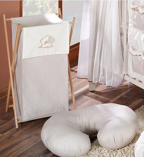 Luxusný praktický kôš na bielizeň - MACKO so srdiečkami hnedý