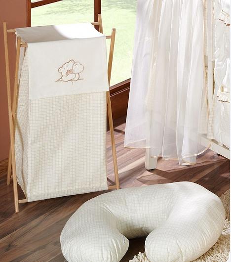 Luxusný praktický kôš na bielizeň - MACKO so srdiečkami ecru