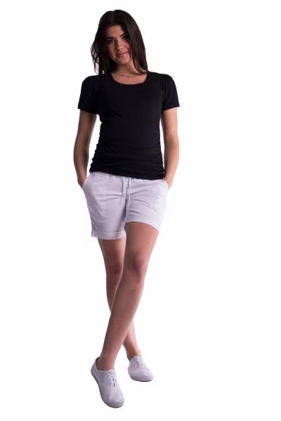 Be MaaMaa Tehotenské kraťasy s elastickým pásom - biele, vel´. XL