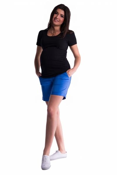 Be MaaMaa Tehotenské kraťasy s elastickým pásom - morská/modrá, vel. M