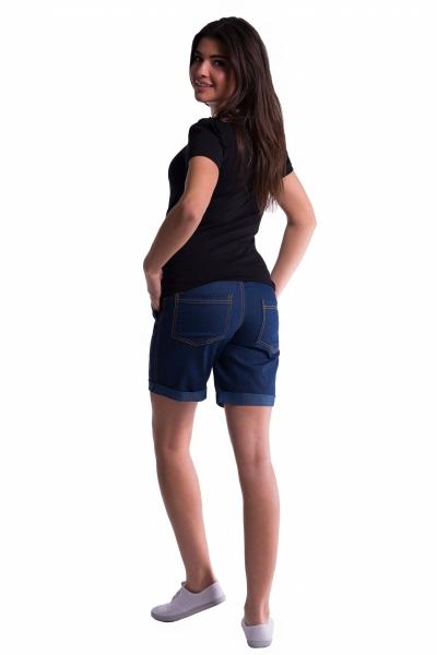 Tehotenské kraťasy s elastickým pásom - tm. modrá