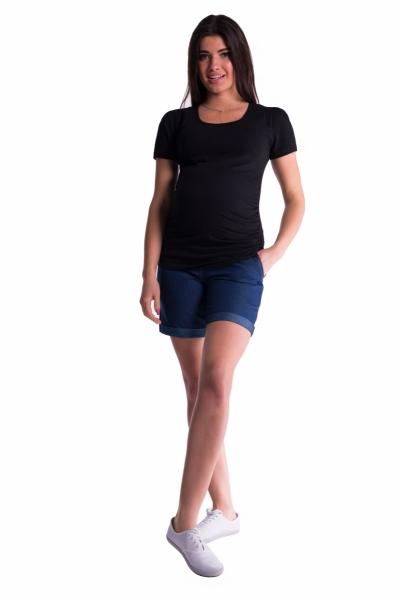 Tehotenské kraťasy s elastickým pásom - tm. modrá, vel´. S-S (36)