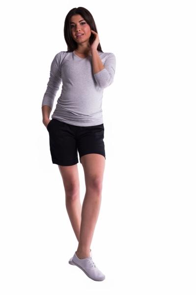 Tehotenské kraťasy s elastickým pásom - čierné, veľ. M
