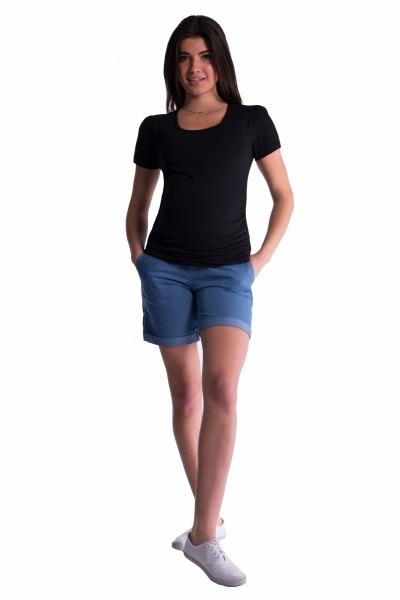 Tehotenské kraťasy s elastickým pásom - sv. modrá, veľ. L