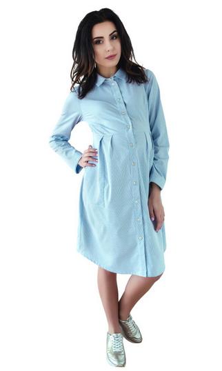 Be MaaMaa Tehotenské šaty, tunika s dl. rukávom - modré, vel´. M-M (38)