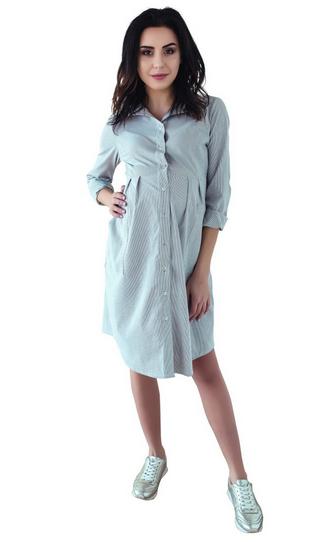 Be MaaMaa Tehotenské šaty, tunika s dl. rukávom - čierno/biele, vel´. M-M (38)